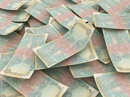 rupees: Indian Rupees, money pile indian bills Stock Photo