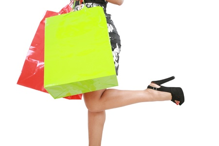 tacones negros: Compras mujer con bolsas de compras