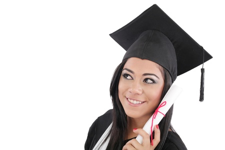 erudition: Thoughtful graduation woman with diploma looking on copy space