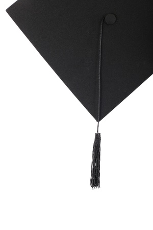 evening class: Graduation cap with black tassel on the white isolated
