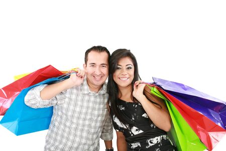 couple with shopping bags isolated on white  photo