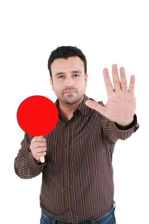 stop gesture: Businessman making stop sign, isolated on white Stock Photo