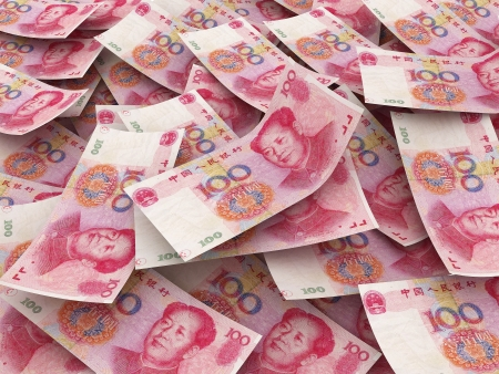 Chinese 100 Yuan bill face within pile of other 100 Yuan bills  Imagens