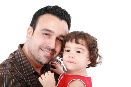 Beautiful caucasian caring daddy holding his daughter in his arms on a white background  Stock Photo - 16512890