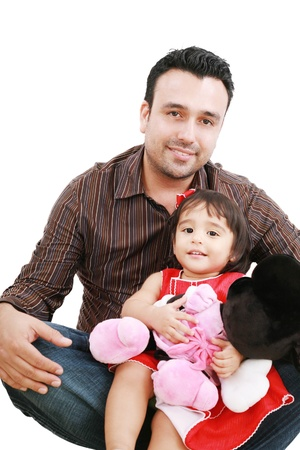 Father and daughter smiling - isolated over a white background  Stock Photo