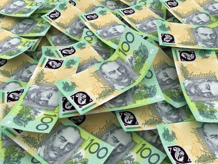 australian dollars: Australian Currency Close-up.  100 AUD  Stock Photo