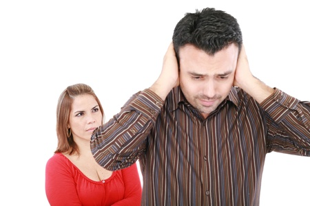 relationship problems: Young man and woman angry and conflicting. Focus on woman