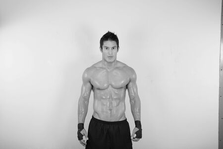 image of muscle man posing in gym Stock Photo - 16711150