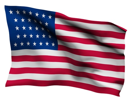 USA flag background, isolated on white Stock Photo - 16855395