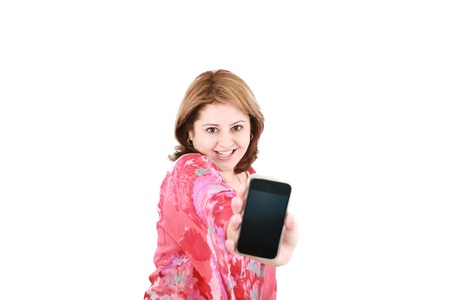Portrait of an attractive young female advertising cellphone against white background Stock Photo - 16873515