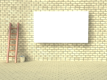 Blank street advertising billboard on brick wall   photo
