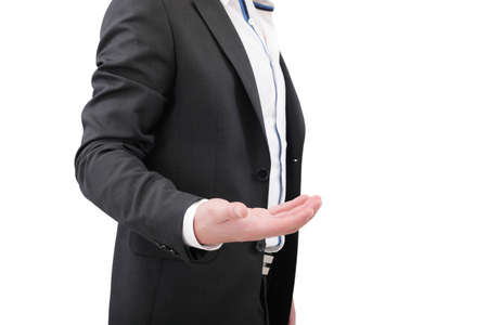 An empty hand of a businessman in black suit Stock Photo - 17167342