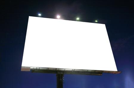Blank illuminated billboard over evening sky  Stock Photo - 17167344
