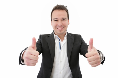 Smiling young business man thumbs up, isolated on white  Focus on man Stock Photo - 17167347