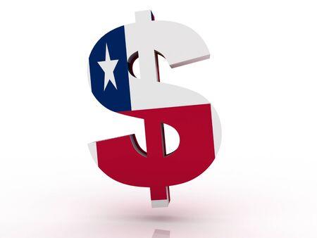 Flag of Chile, national symbol illustration clipart finance economy dollar  Stock Illustration - 17167340