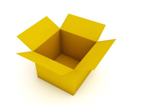packer: Empty cardboard box isolated on white background.