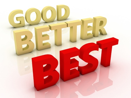 Good, better and best, colorful words on blackboard  Stock Photo