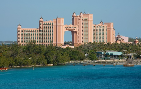 NASSAU-FEB4: Atlantis Paradise Island Feb 4, 2013 in Nassau, Bahamas. The Royal Towers joined by the Bridge. The Bridge Suite, located in the span, is one of the most expensive hotel suites in the world, costing approximately $25,000 USD a night