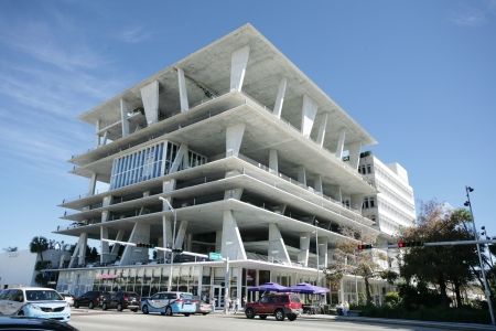 residents: MIAMI-FEB 1: 11 11 Lincoln Road is a unique, modern and famous design of shopping, dining, residential and parking for Miami residents and visitors, it was design by the famous architect Herzog & de Meuron in Lincoln Road, Miami, FL on Feb 1, 2013