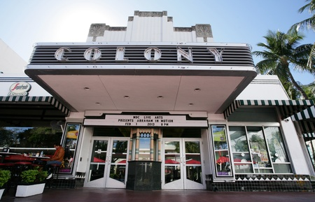 MIAMI, USA - FEB 1: Famous Colony Art Deco Theater renovated for 6,5 Million US $, build in 1934 in art deco style to entertain the visitors in Lincoln Road, Miami, FL on Feb 1, 2013.