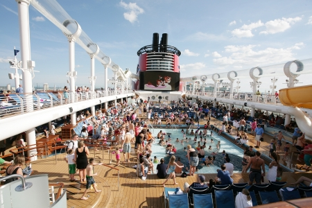 cruise travel: ORLANDO, FL- FEB 3:  Great party on the departure of the new Disney Cruise Line named