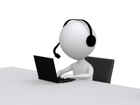 Customer Support. 3D little human character with a Headsets and a Laptop Computer Stock Photo