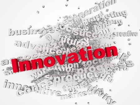 innovation word: Innovate concept with other related words on retro background Stock Photo