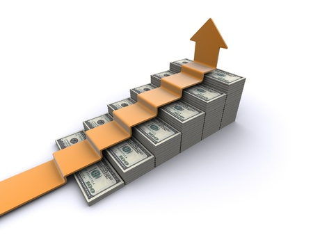 upward graph: dollars stairway