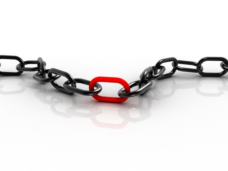 Black chain with red part in the middle Stock Photo - 18139751