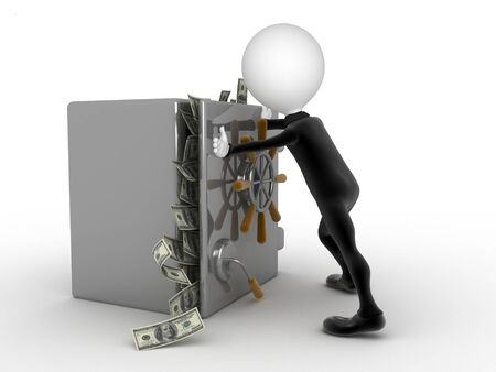 underwrite: Businessman trying to close a security box full of money