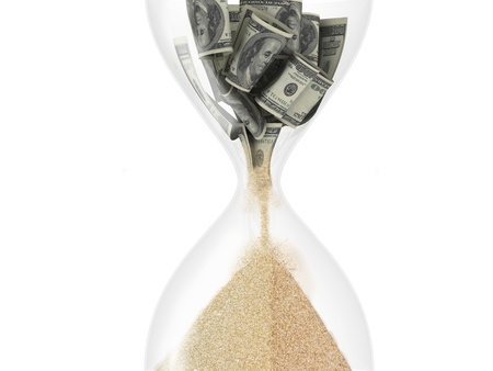 sand dollar: hourglass with dollar inside (time is money concept) Stock Photo