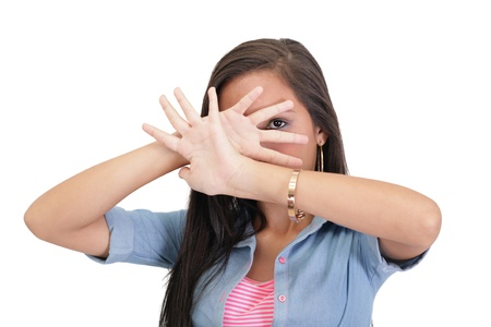 woman stop: Confident woman making stop gesture sing with hand