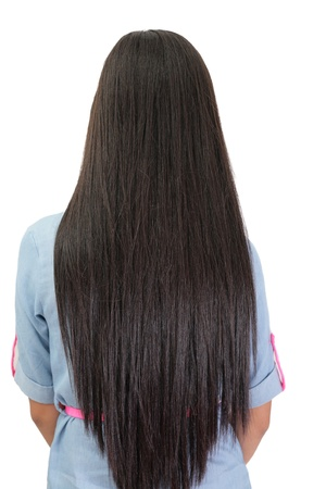 hair back: beautiful straight long hair