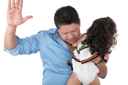 domestic abusive: Little girl about to be thumped by father