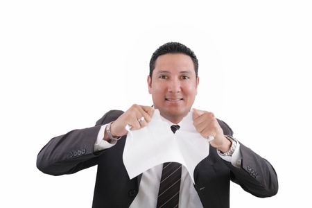 cancel: man is tearing a document paper