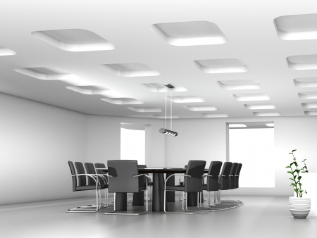 Conference table and chairs in meeting room  Imagens