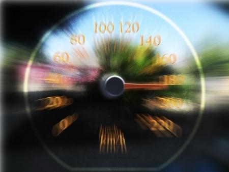 Speedometer scoring high speed in a fast motion blur