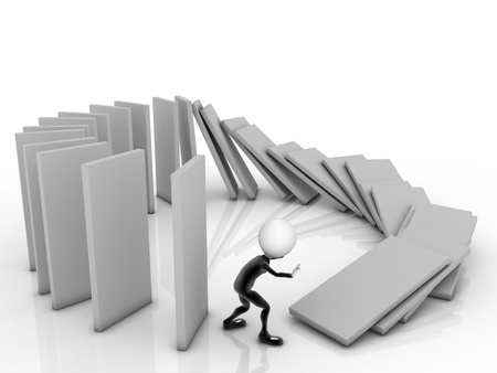 3D Businessman near a stack of columms. Stock Photo