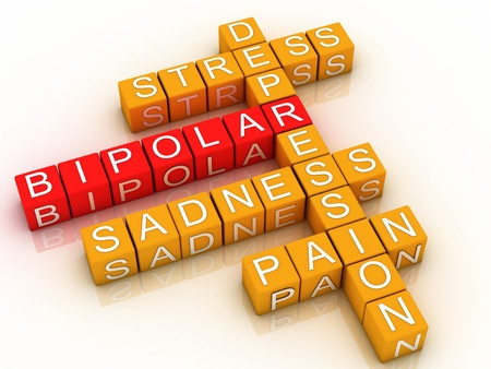 mental illness: 3d Bipolar disorder background  Stock Photo
