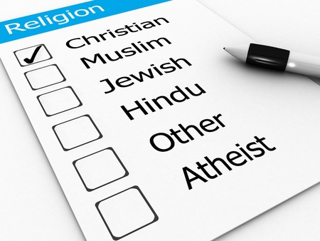 belief system: major world religions - Christian, Muslim, Jewish, Hindu, Atheist, Other