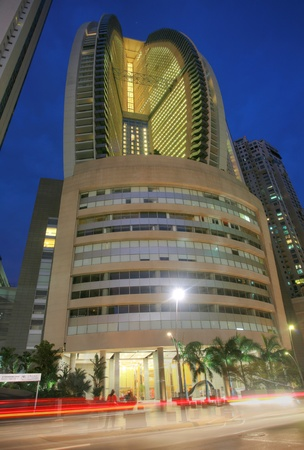 PANAMA CITY, PANAMA - MARCH 17: The Trump Ocean Club International Hotel and Tower on March 17, 2013 in Panama City, Panama. This 70-story, 230,000 m2 skyscraper was completed in 2011 at a cost of $400 million.  Stock Photo - 19679093
