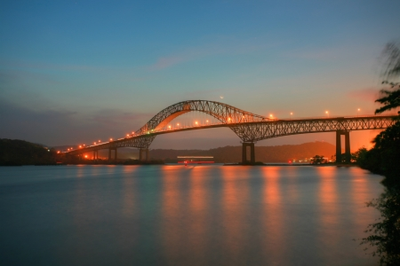 Beautiful bridge connected South and North Americas (Puente de las Americas Panama) photo