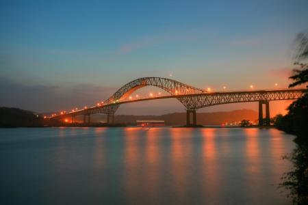Beautiful bridge connected South and North Americas (Puente de las Americas Panama) Stock Photo