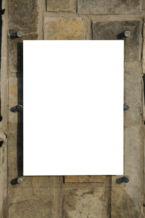 pannel: blank sign over pannel rock background Stock Photo