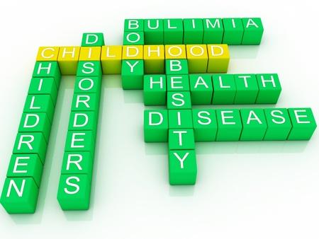 obesidad infantil: Concepto de ilustraci�n 3d de la salud infantil