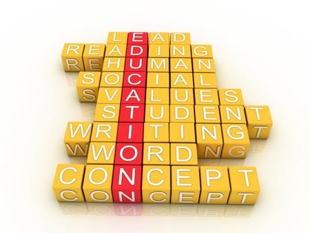 facilitating: Education Toy Blocks (colorful cubes buzzword series)  Stock Photo