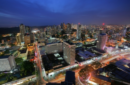 Panama City in the twilight Stock Photo