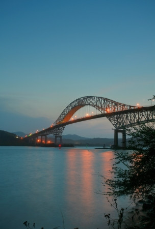 panama: Trans American bridge in Panama connected South and North Americas in the sunset Stock Photo