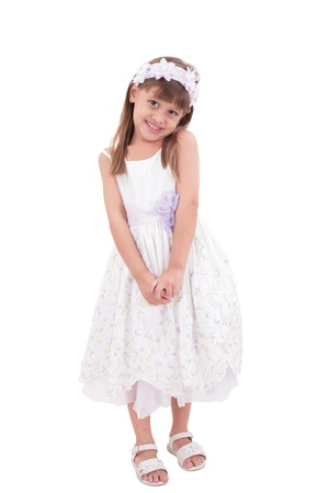girl: smiling little girl in white dress