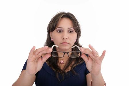 oculista: Mujer probar sus nuevos lentes Foto de archivo